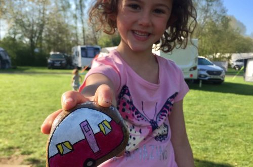 Curious Campers painted rock